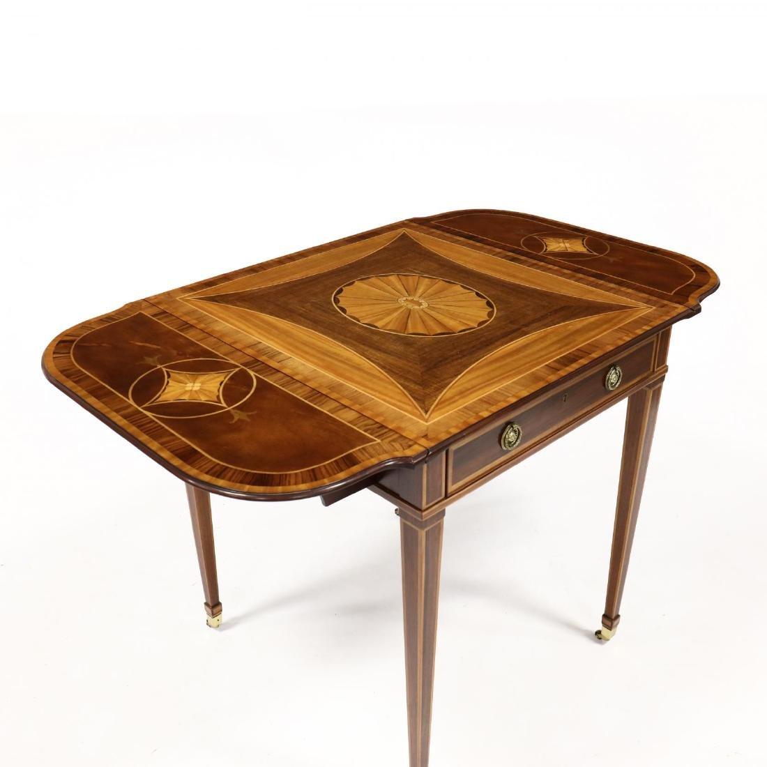 Baker, Hepplewhite Style Inlaid Dropleaf Side Table - 3