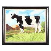 A Contemporary Folk Art Painting of a Cow