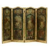 Vintage Italian Painted Four Panel Floor Screen