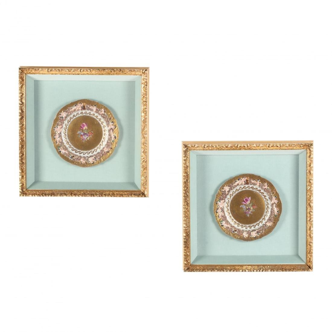 A Pair of Framed Capodimonte Plates