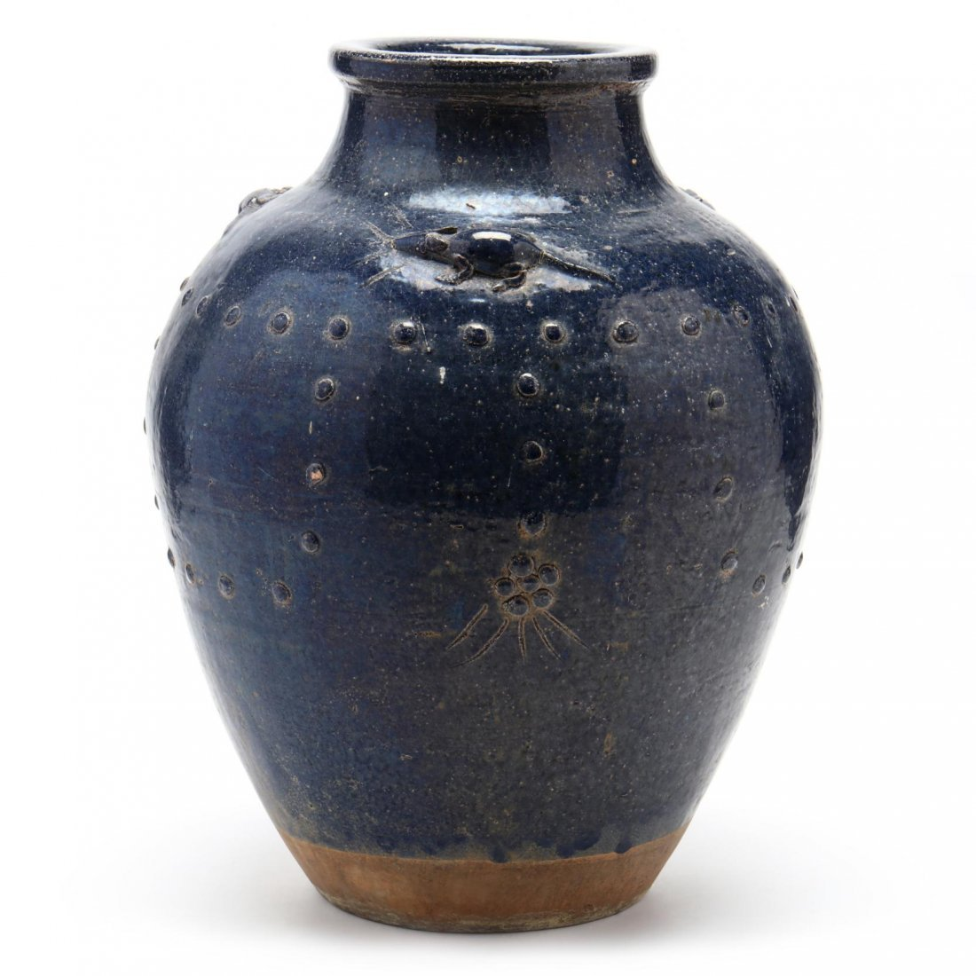 Asian Pottery Vase with Mouse Decoration