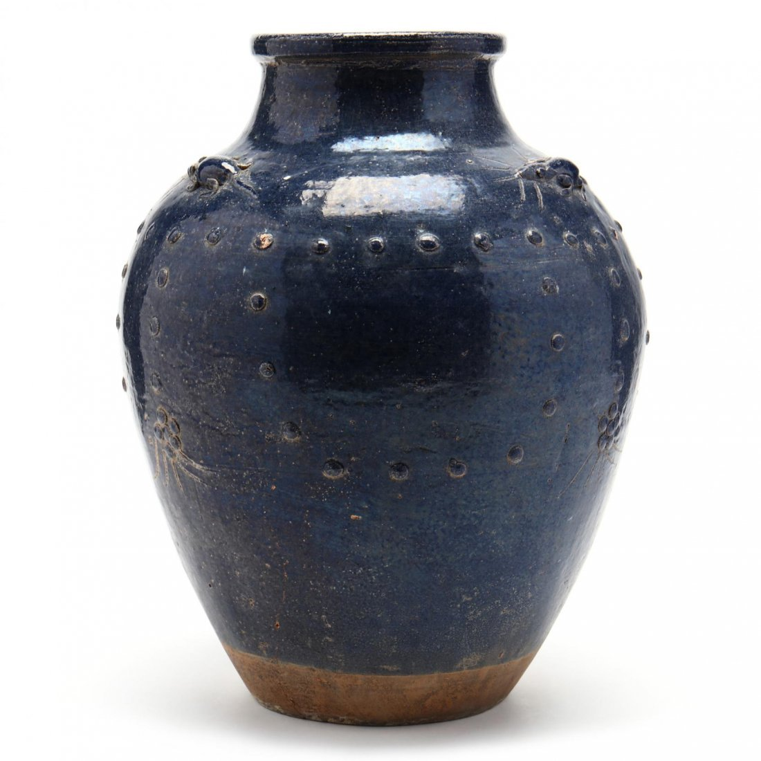 Asian Pottery Vase with Mouse Decoration - 3