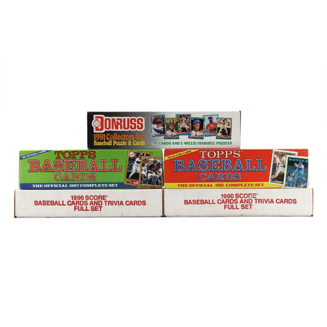 Five 1980-90s Boxed Baseball Cards by Topps, Donruss