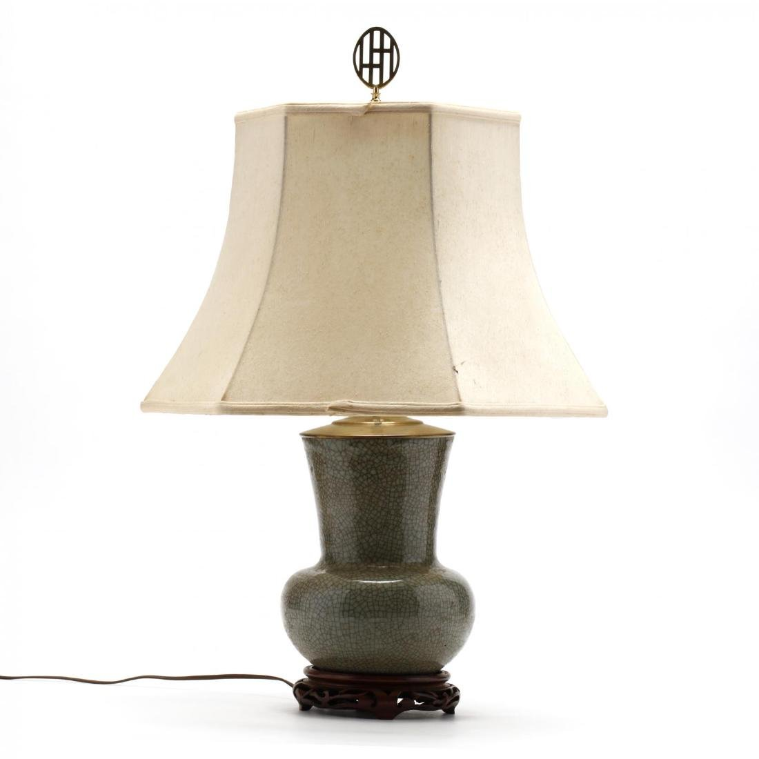 Antique Chinese Celadon Glazed Table Lamp - 2