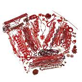 Group of Red Vintage Costume Jewelry