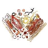 Group of Orange Vintage Costume Jewelry