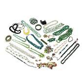 Group of Green Vintage Costume Jewelry