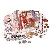 Group of Pink & Purple Vintage Costume Jewelry