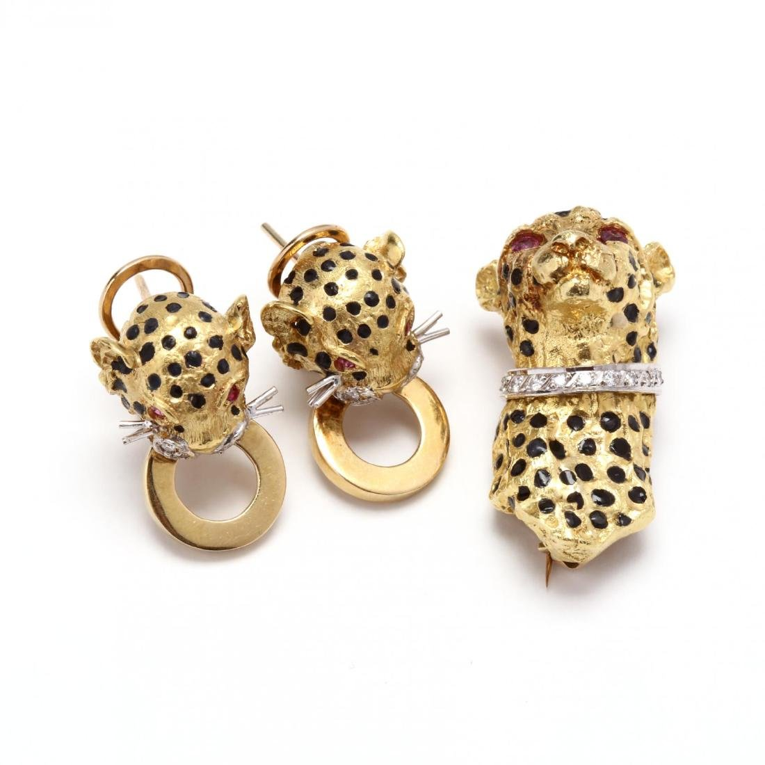 18KT Gold, Enamel, and Gem Set Cheetah Earrings and