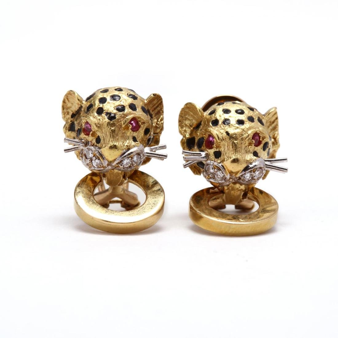 18KT Gold, Enamel, and Gem Set Cheetah Earrings and - 2