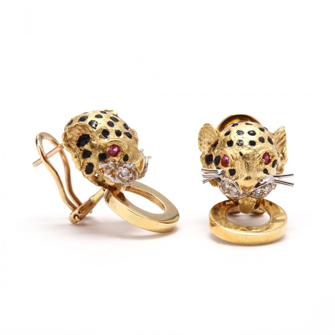 18KT Gold, Enamel, and Gem Set Cheetah Earrings and - 3
