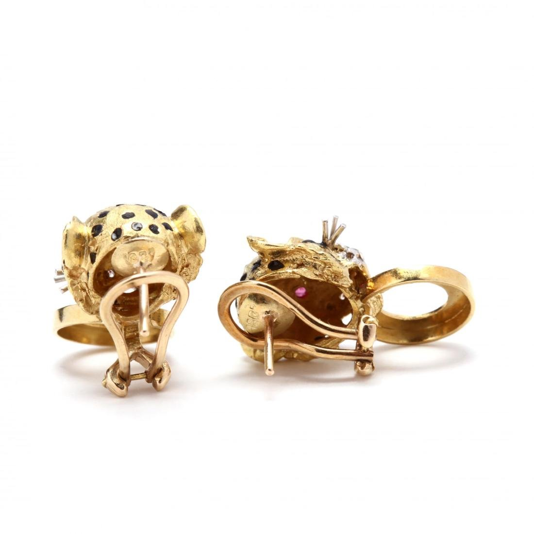 18KT Gold, Enamel, and Gem Set Cheetah Earrings and - 4