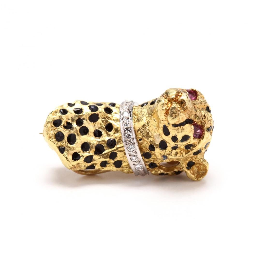 18KT Gold, Enamel, and Gem Set Cheetah Earrings and - 7