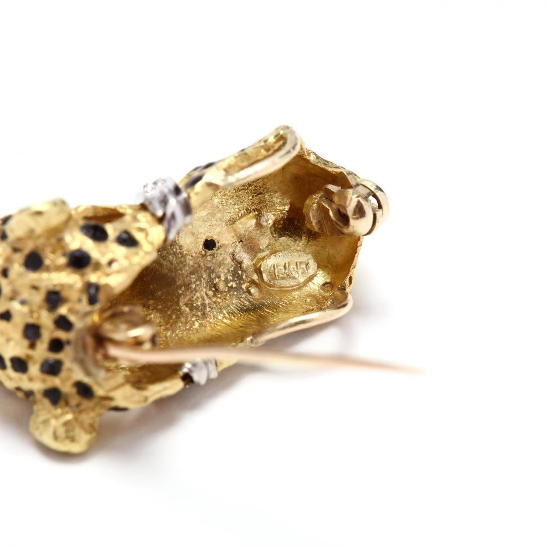 18KT Gold, Enamel, and Gem Set Cheetah Earrings and - 9