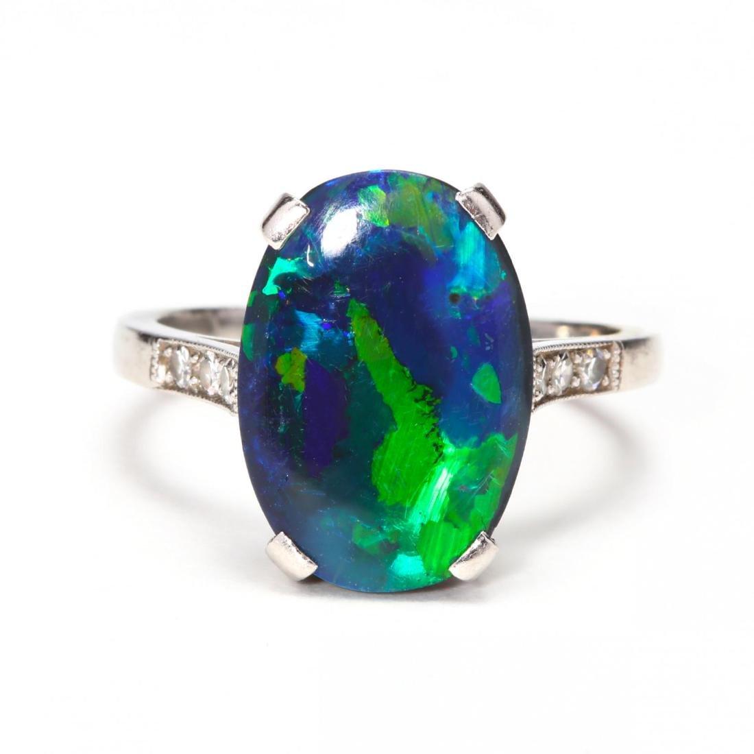 Art Deco Platinum, Opal & Diamond Ring
