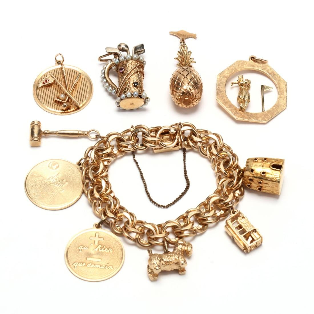 Gold Charm Bracelet and Charms