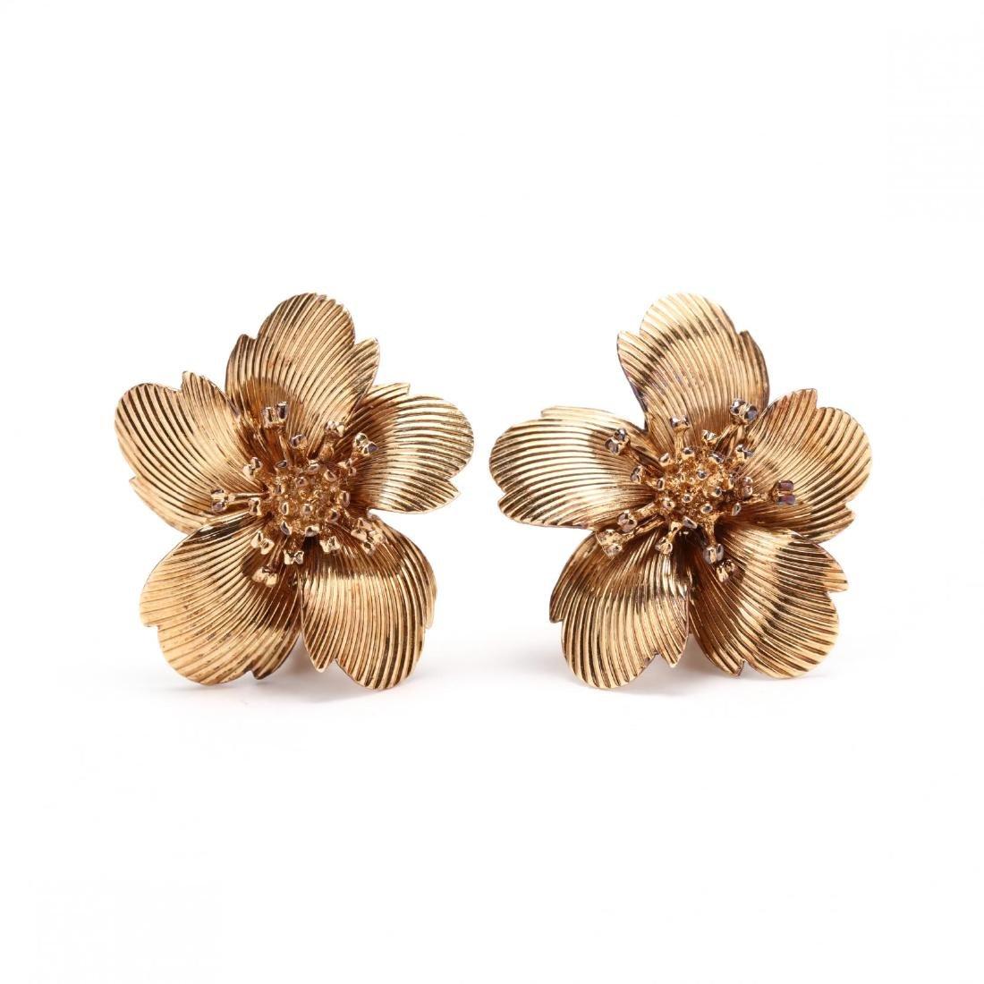 Vintage 14KT Gold Flower Earrings, Cartier