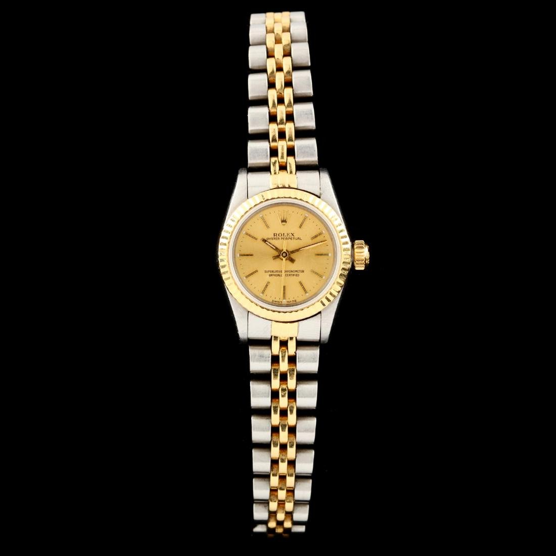 Lady's Stainless Steel and Gold Oyster Perpetual Watch,