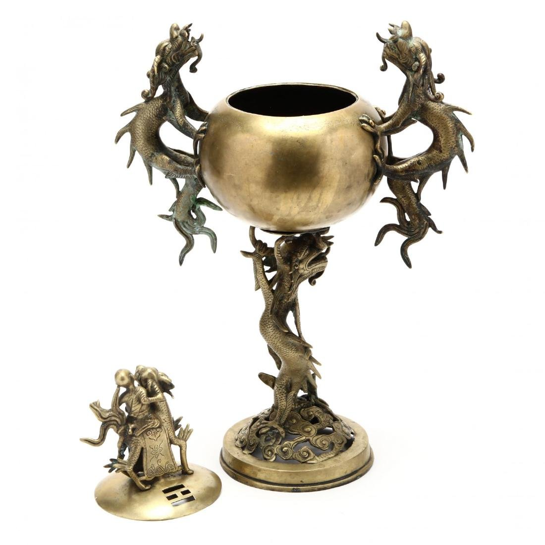 A Large Chinese Brass Incense Burner with Dragon - 4
