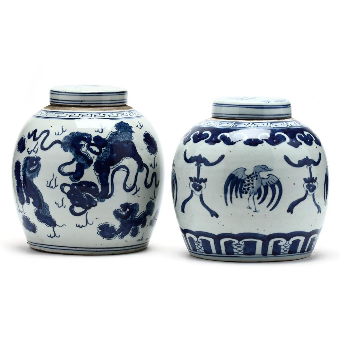 A Matched Pair of Unusual Chinese Porcelain Blue and