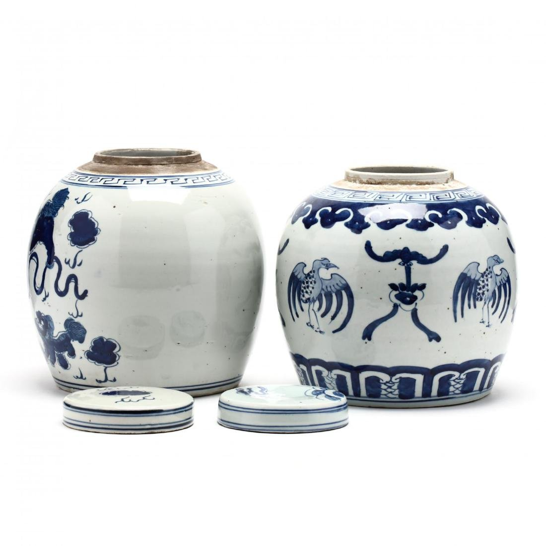 A Matched Pair of Unusual Chinese Porcelain Blue and - 2