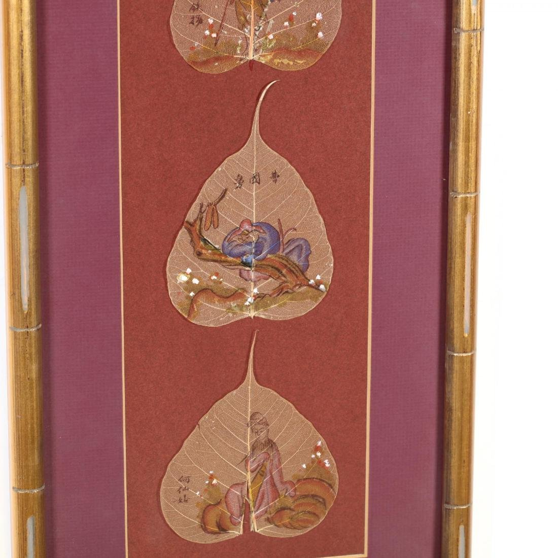 Chinese Bodhi Leaf Paintings of the Eight Daoist - 6