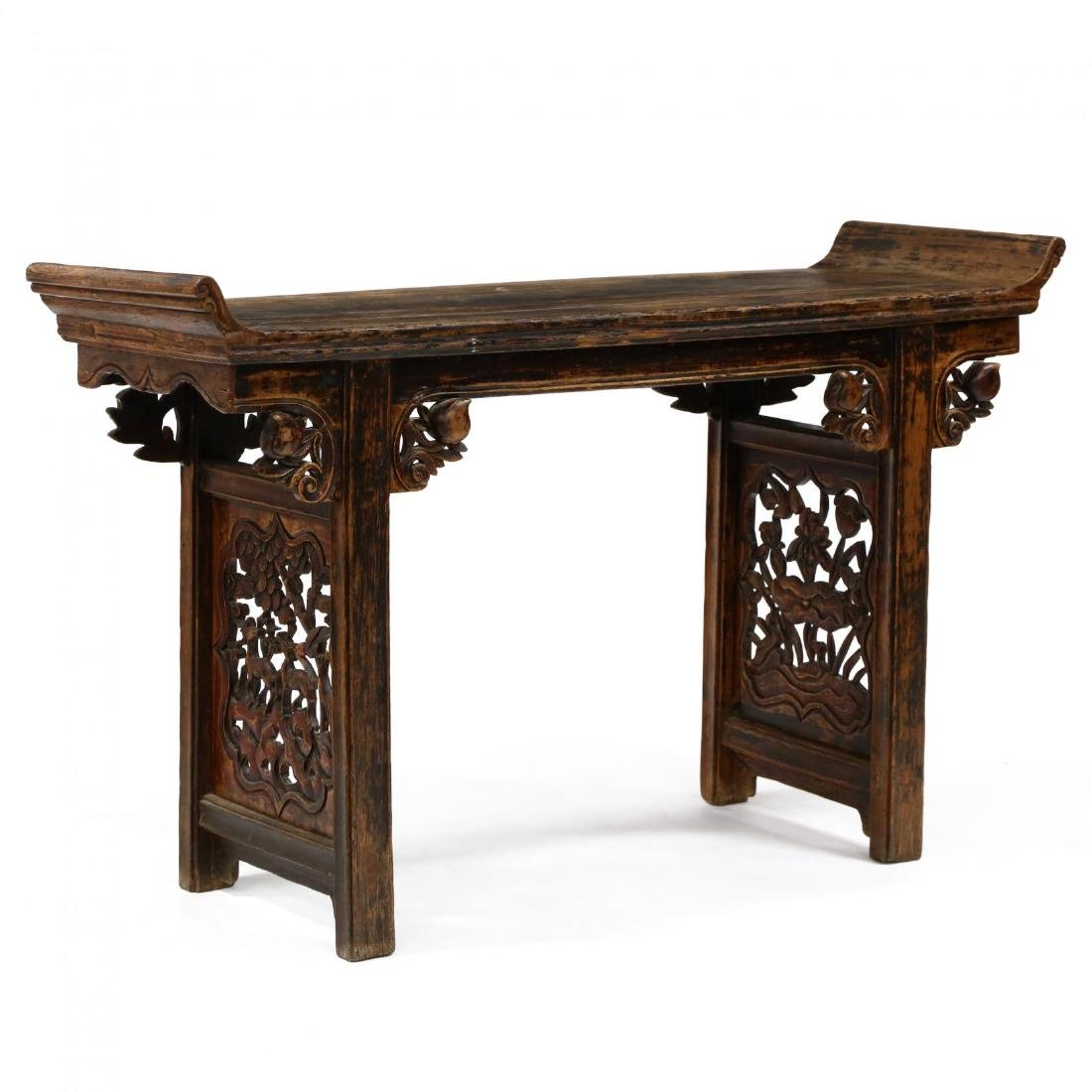An Antique Chinese Carved Wood Altar Table