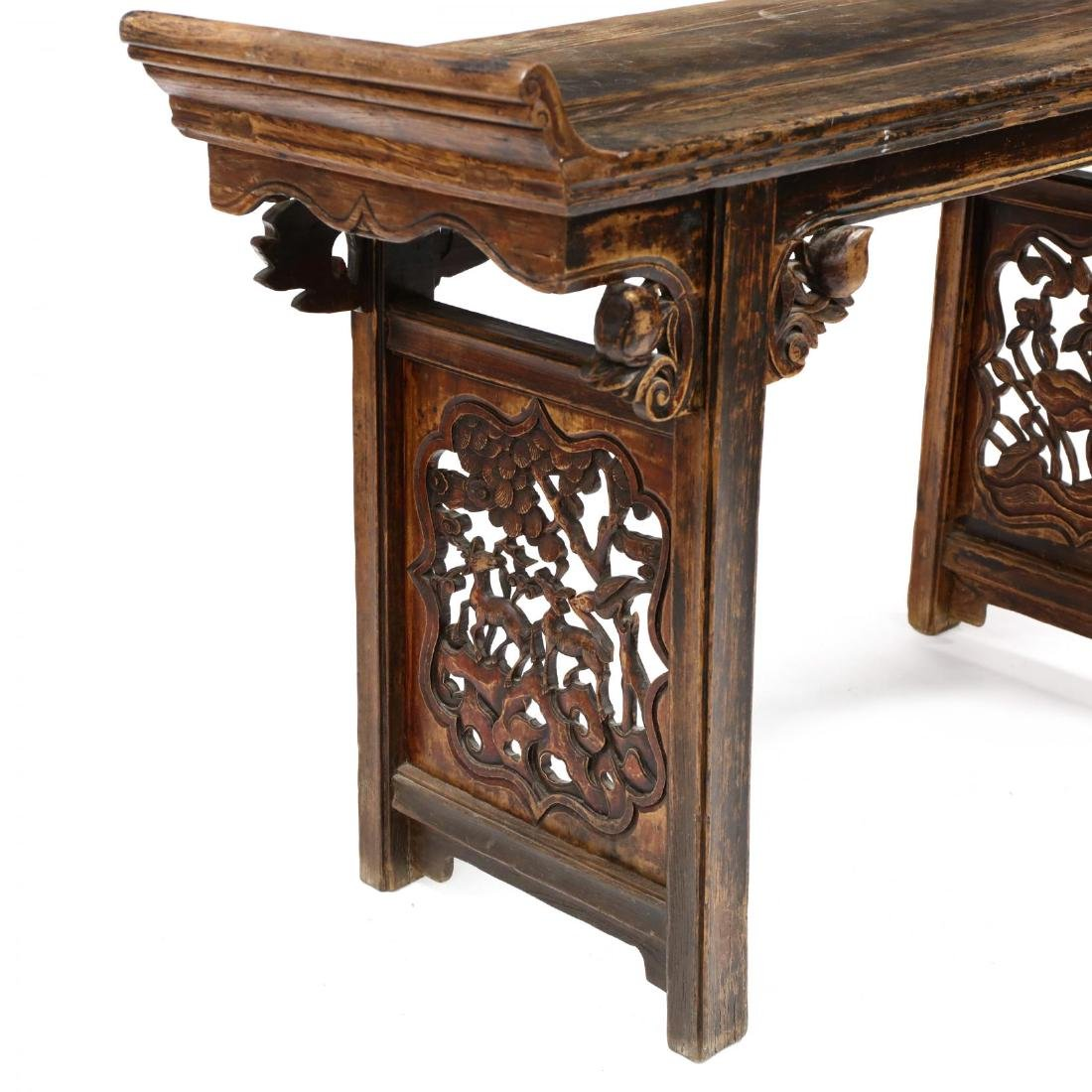 An Antique Chinese Carved Wood Altar Table - 2