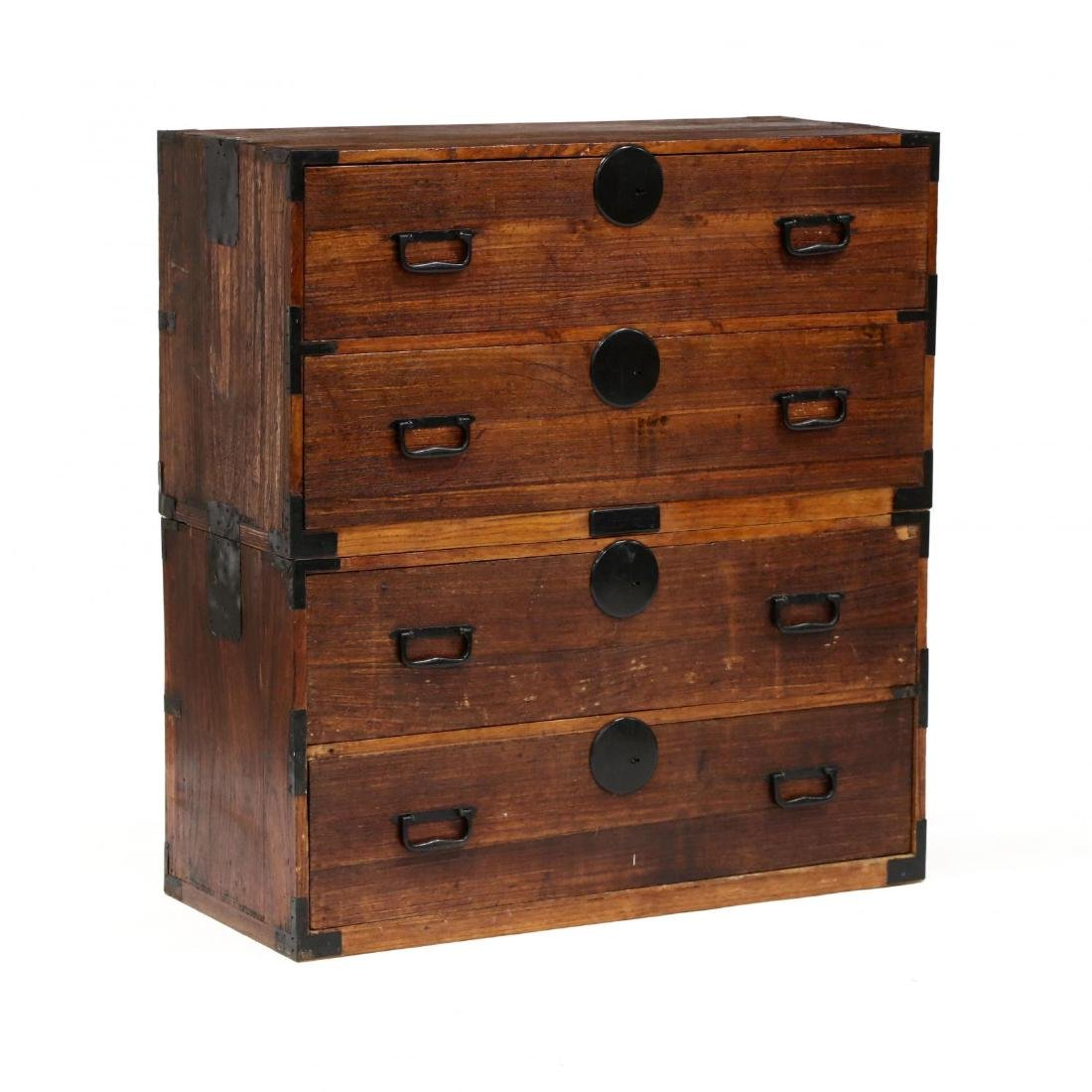 A Japanese Antique Tansu Chest on Chest