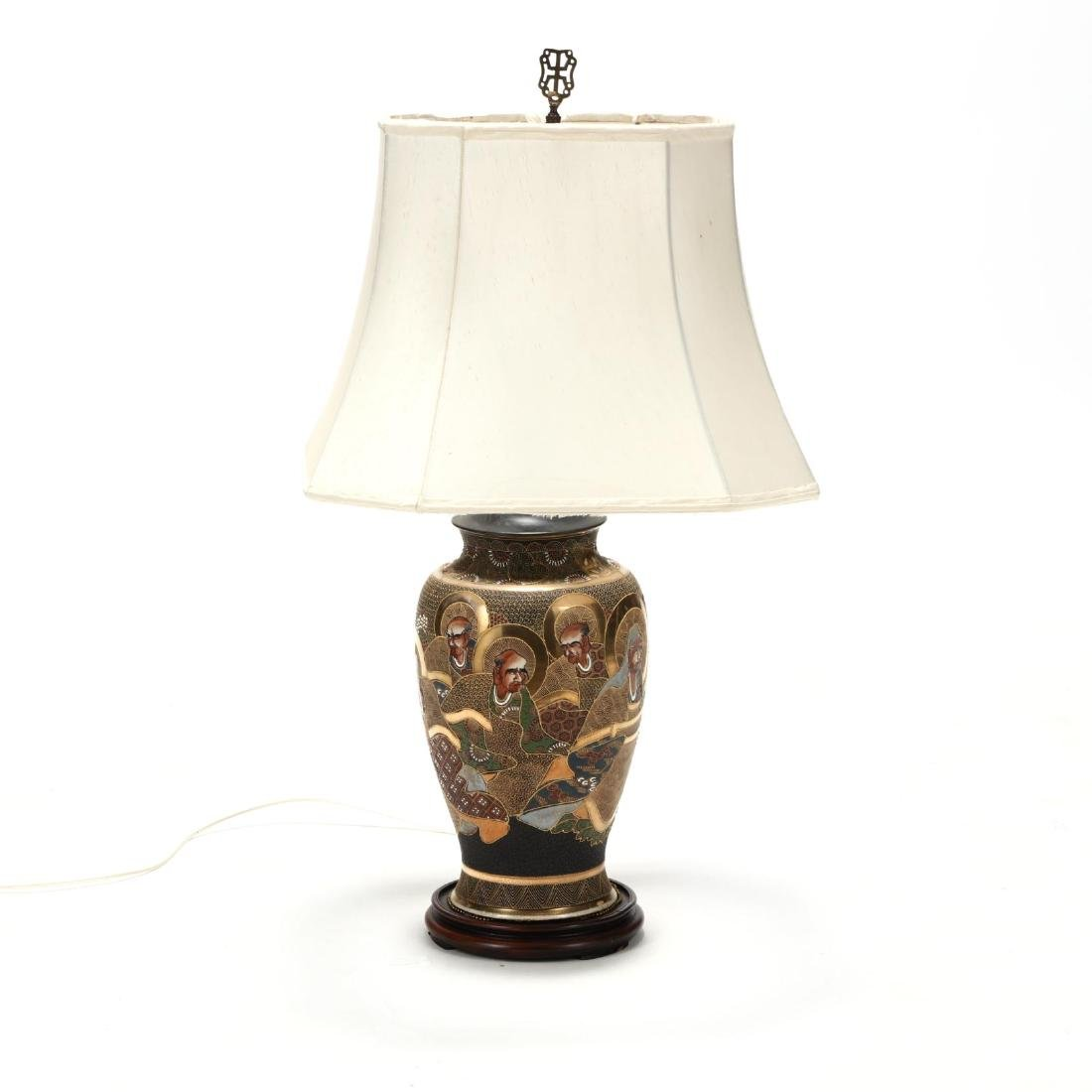 A Japanese Moriage Porcelain Table Lamp