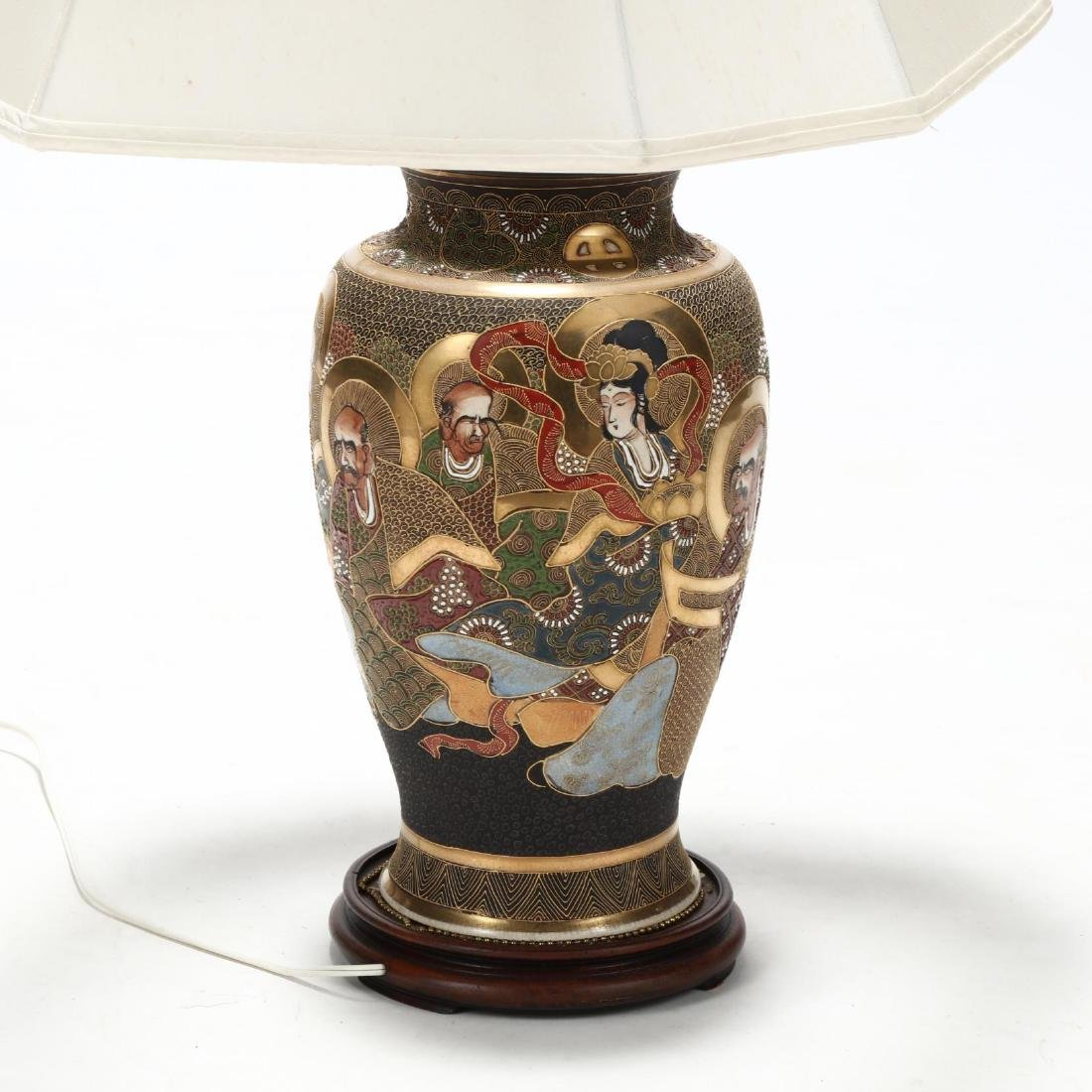 A Japanese Moriage Porcelain Table Lamp - 3