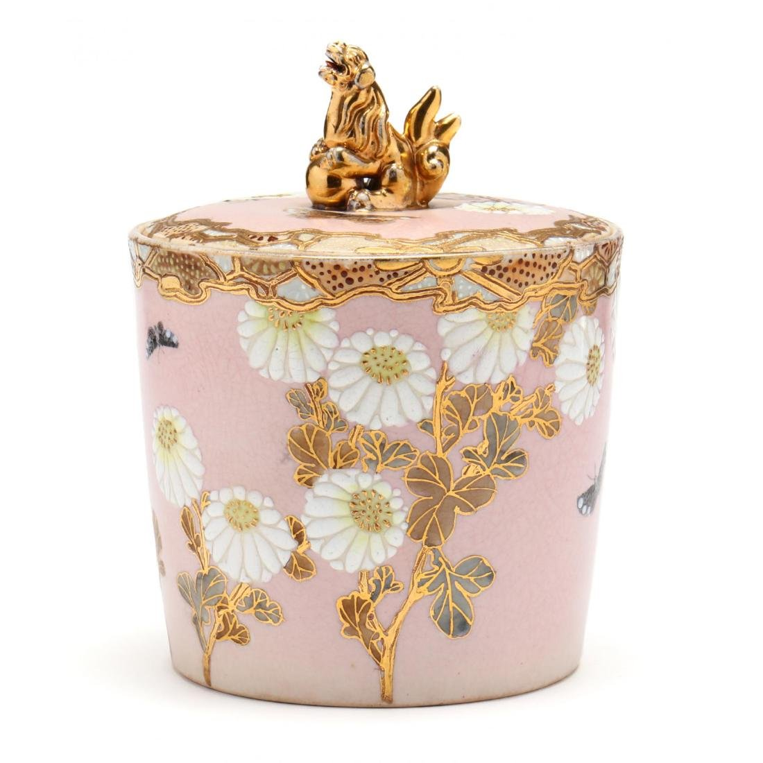An Antique Japanese Moriage Biscuit Jar