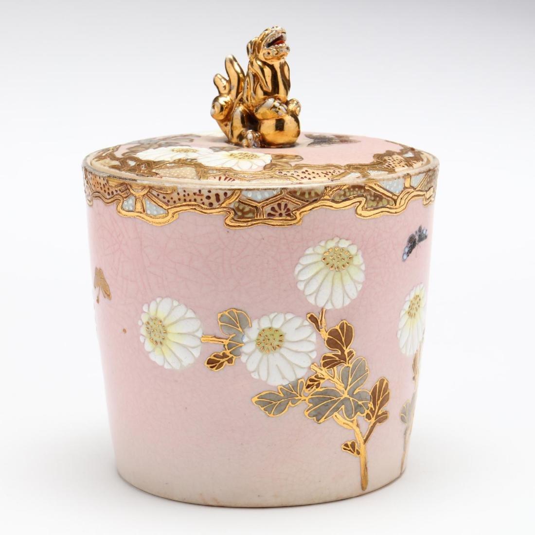 An Antique Japanese Moriage Biscuit Jar - 3