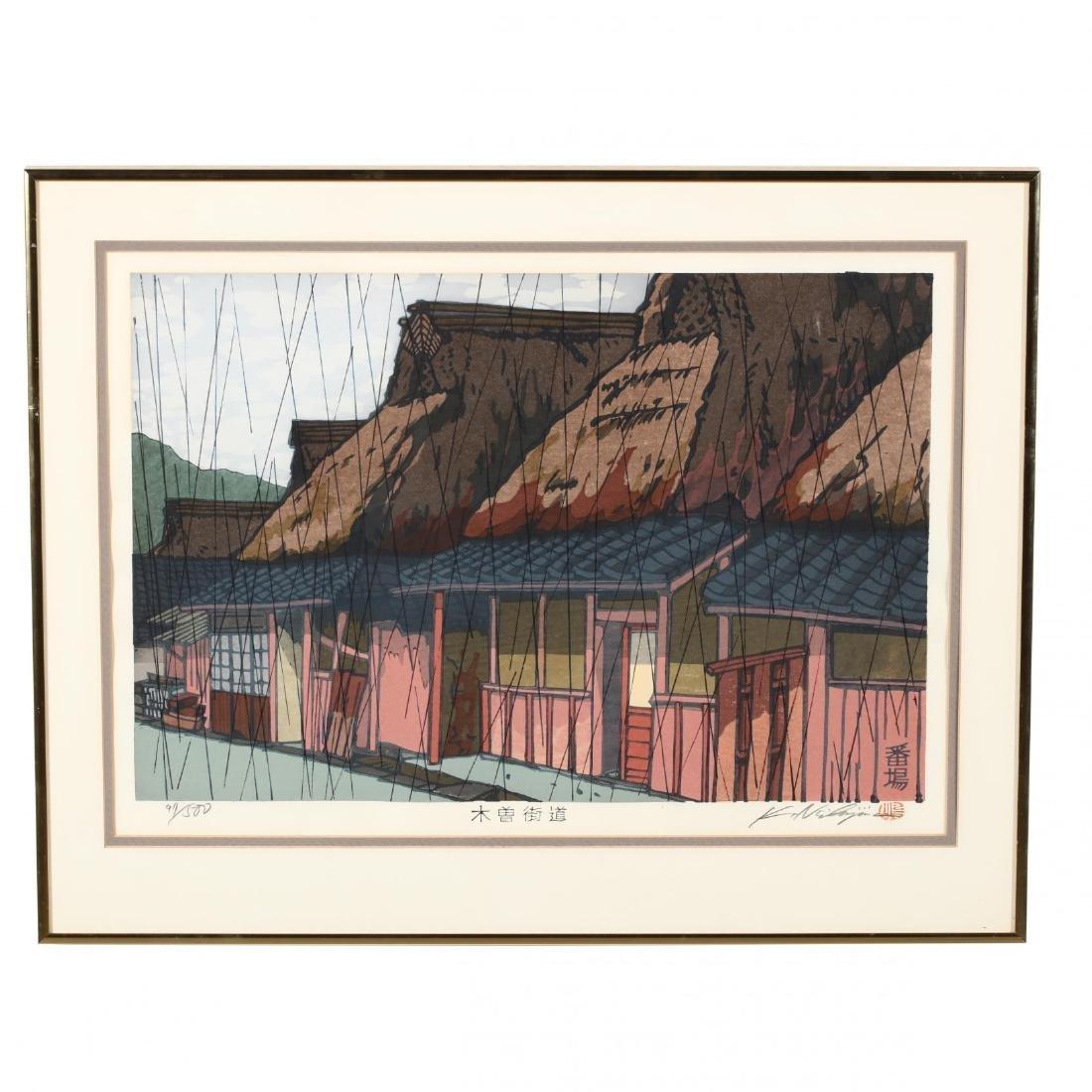 Two Woodblock Prints by Katsuyuki Nishjima (Japanese, - 5