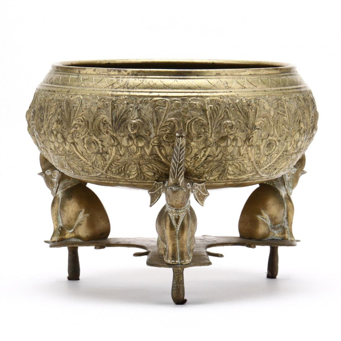 Southeast Asian Brass Bowl On Stand
