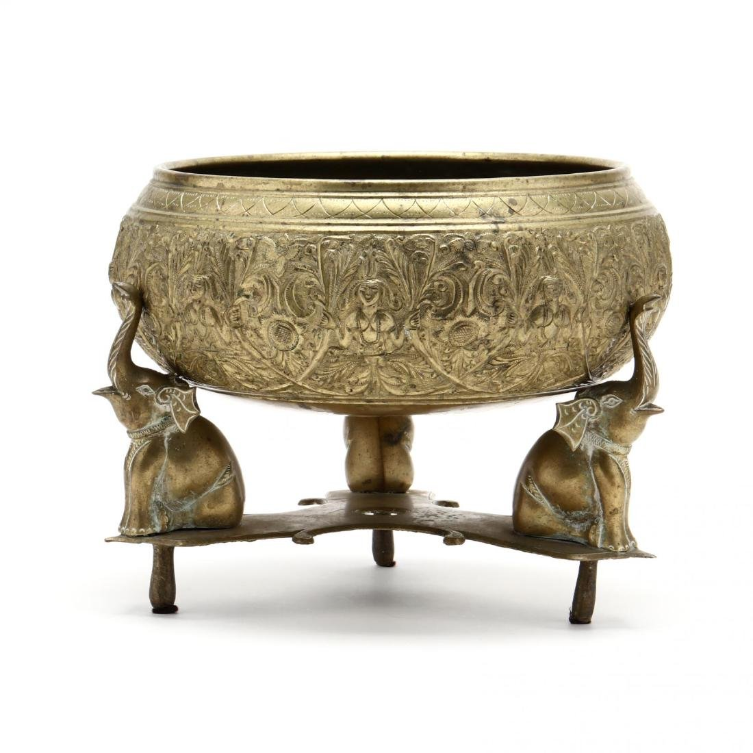 Southeast Asian Brass Bowl On Stand - 3