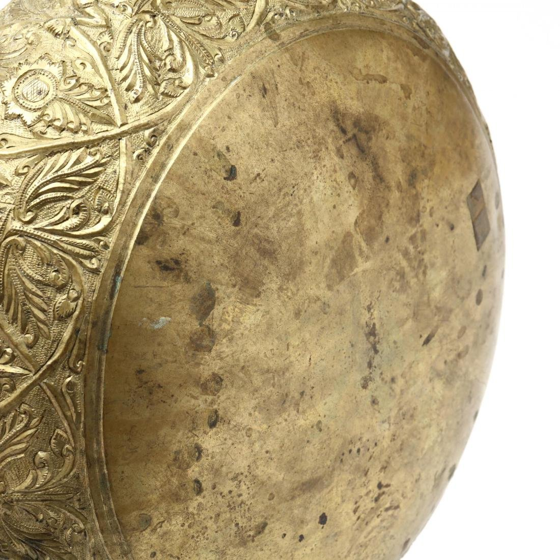 Southeast Asian Brass Bowl On Stand - 6