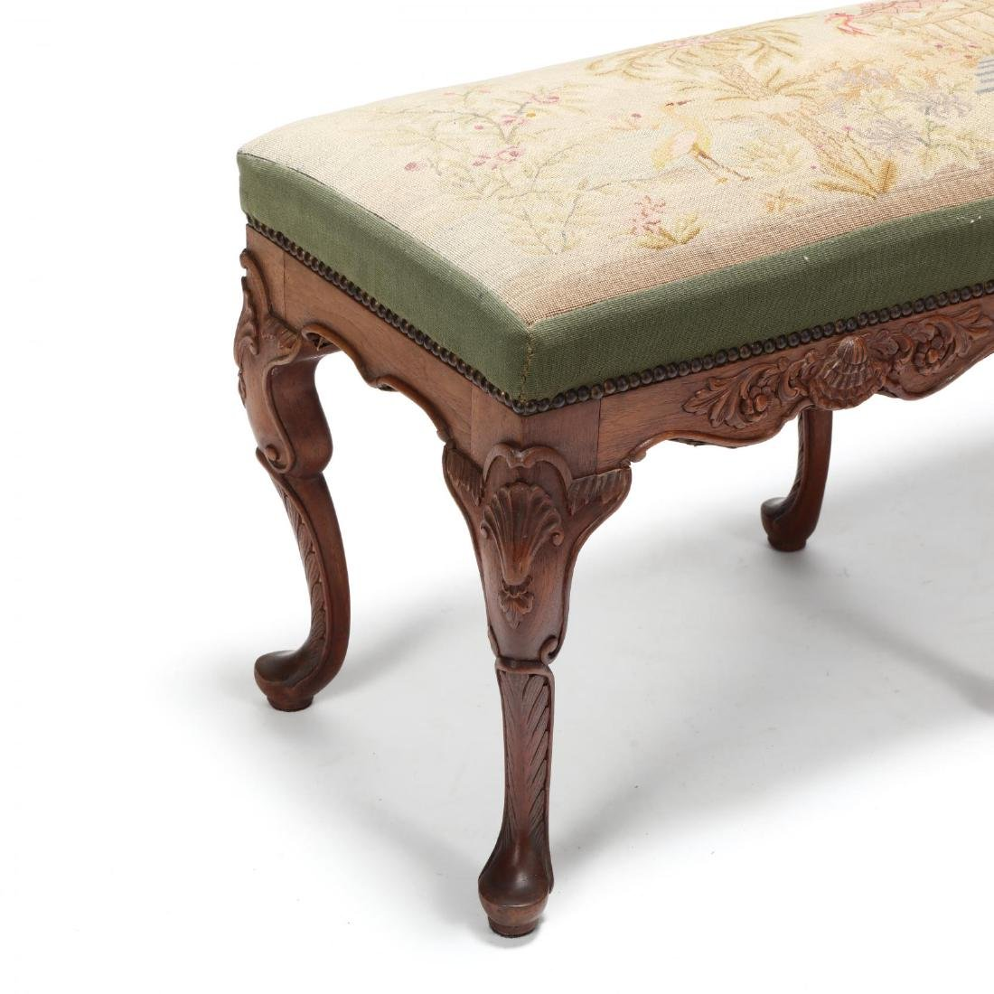 Queen Anne Style Carved Mahogany Bench - 3