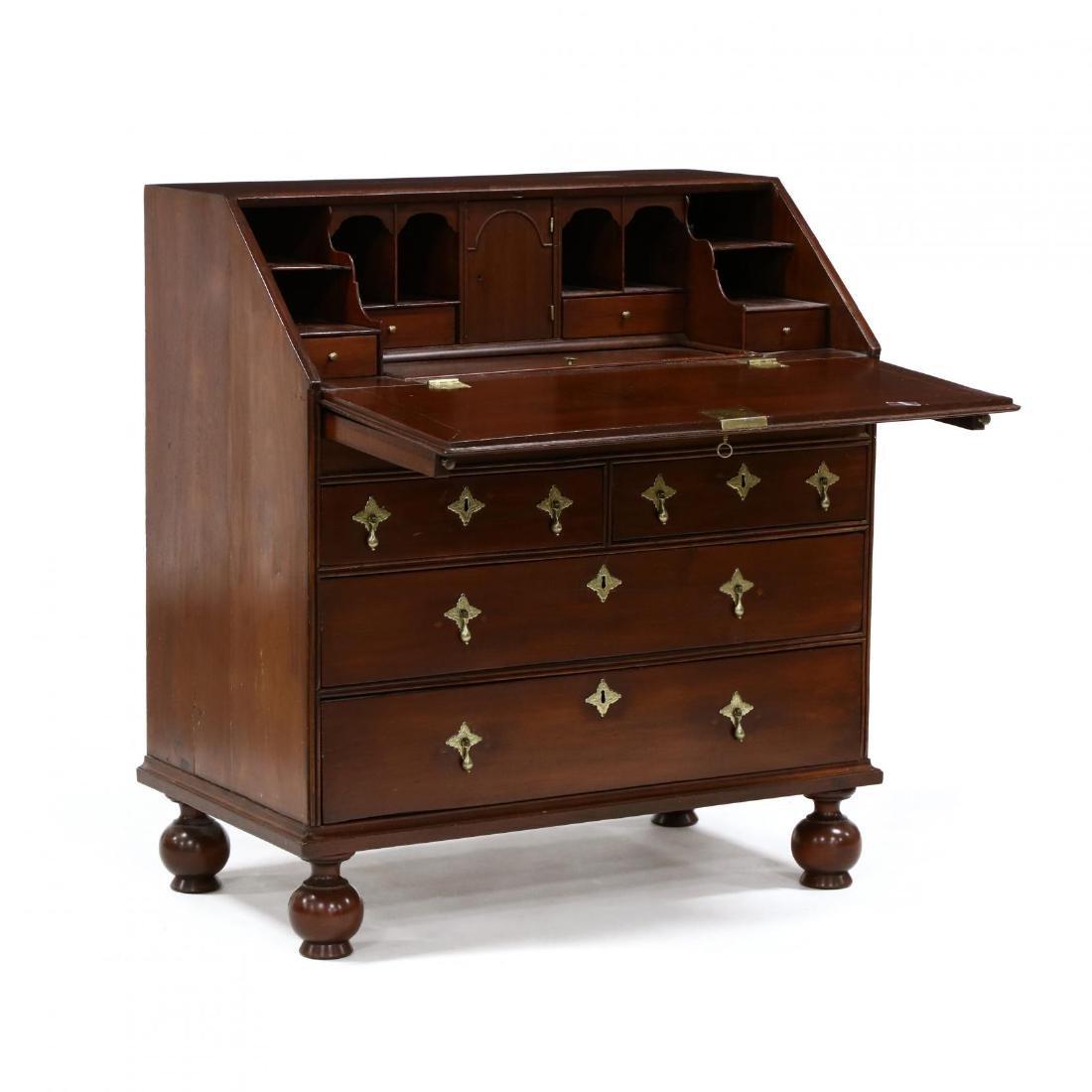 William and Mary Mahogany Slant Front Desk - 2