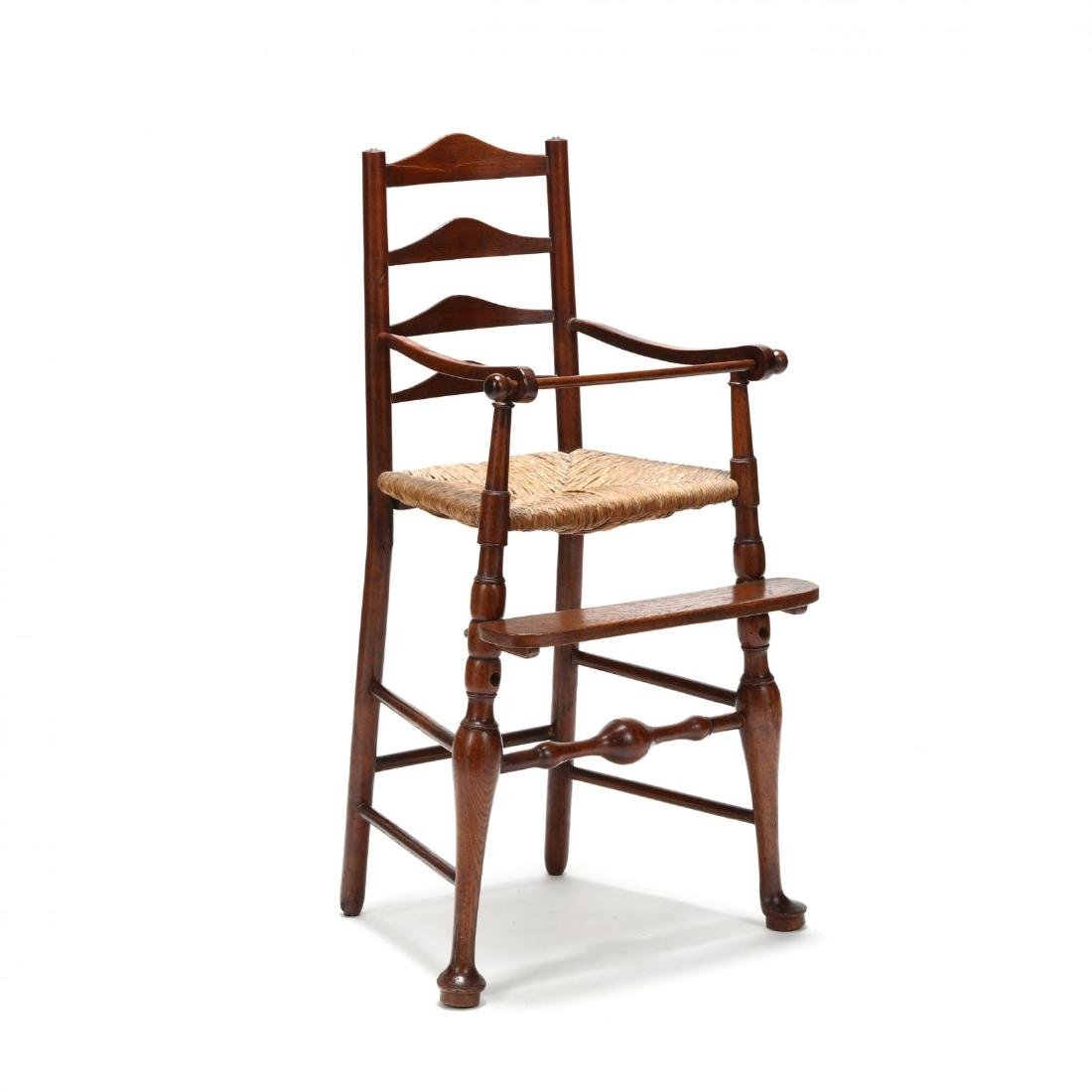 English Queen Anne Style Elm Child's High Chair