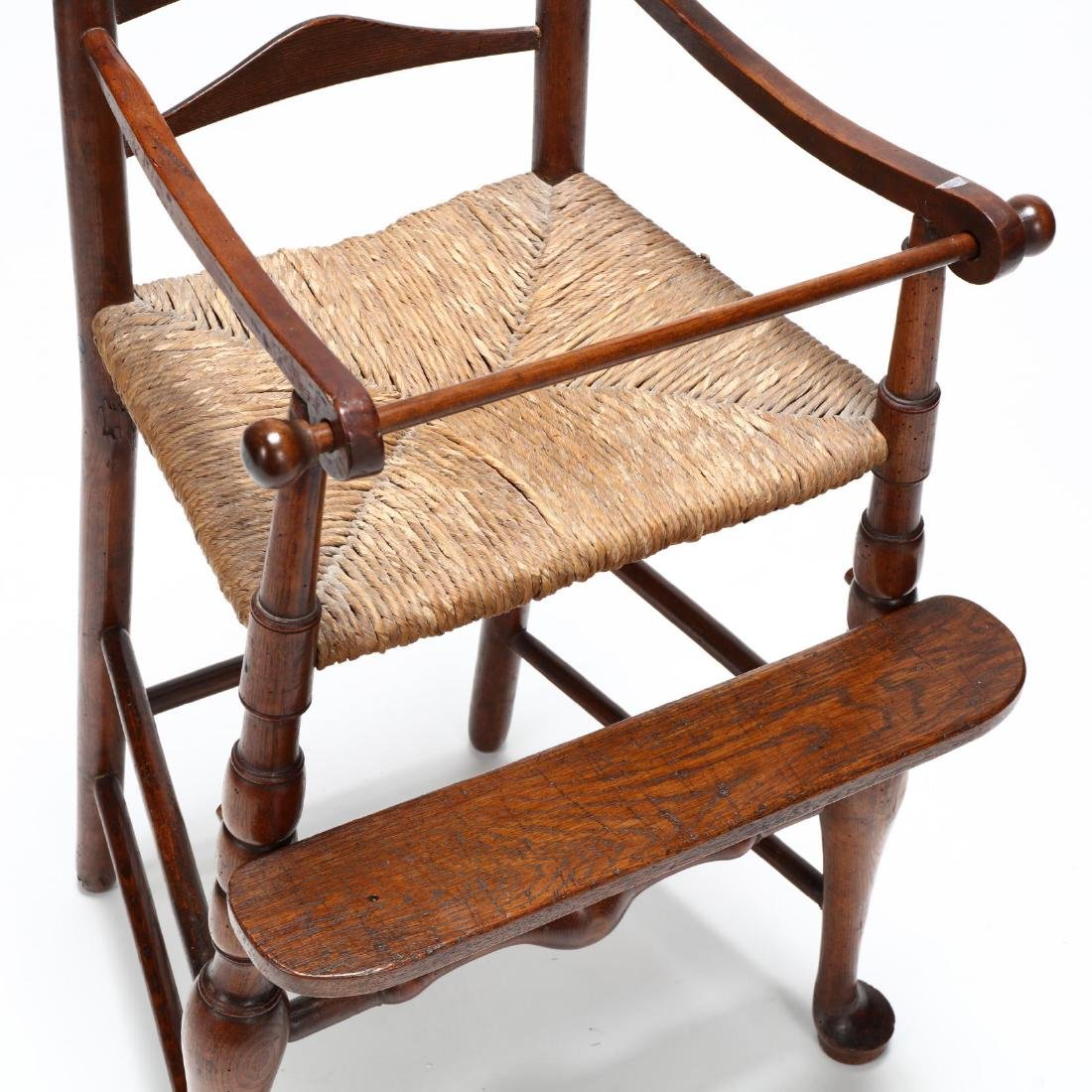 English Queen Anne Style Elm Child's High Chair - 2