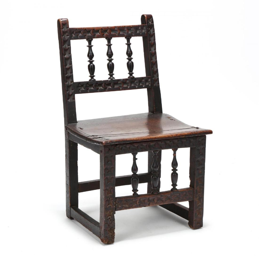 Jacobean Carved Walnut Side Chair