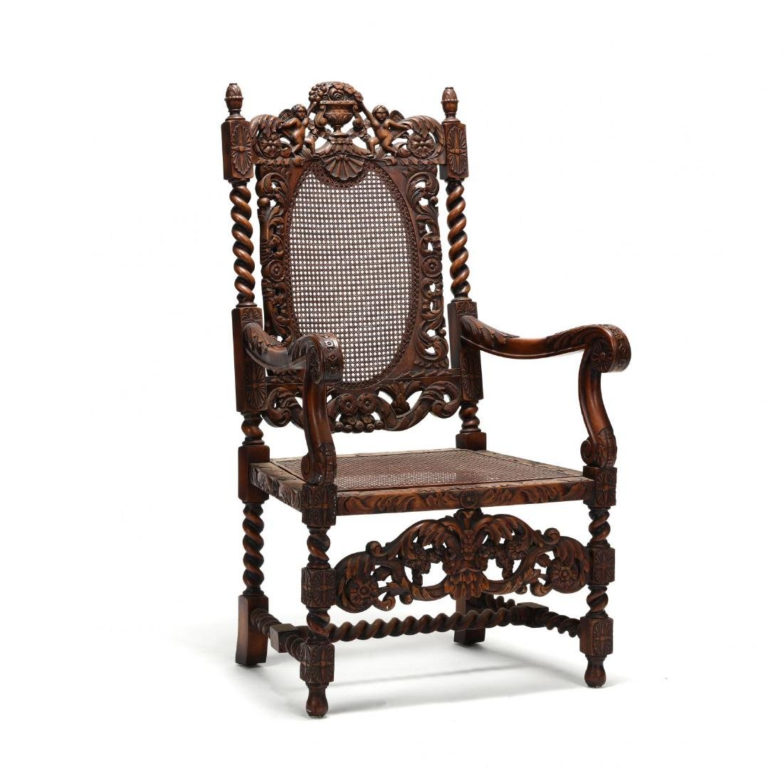 Flemish Style Carved Walnut Hall Chair
