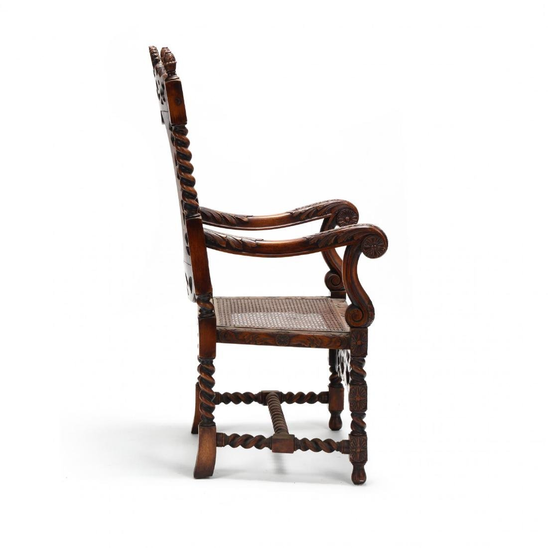 Flemish Style Carved Walnut Hall Chair - 3