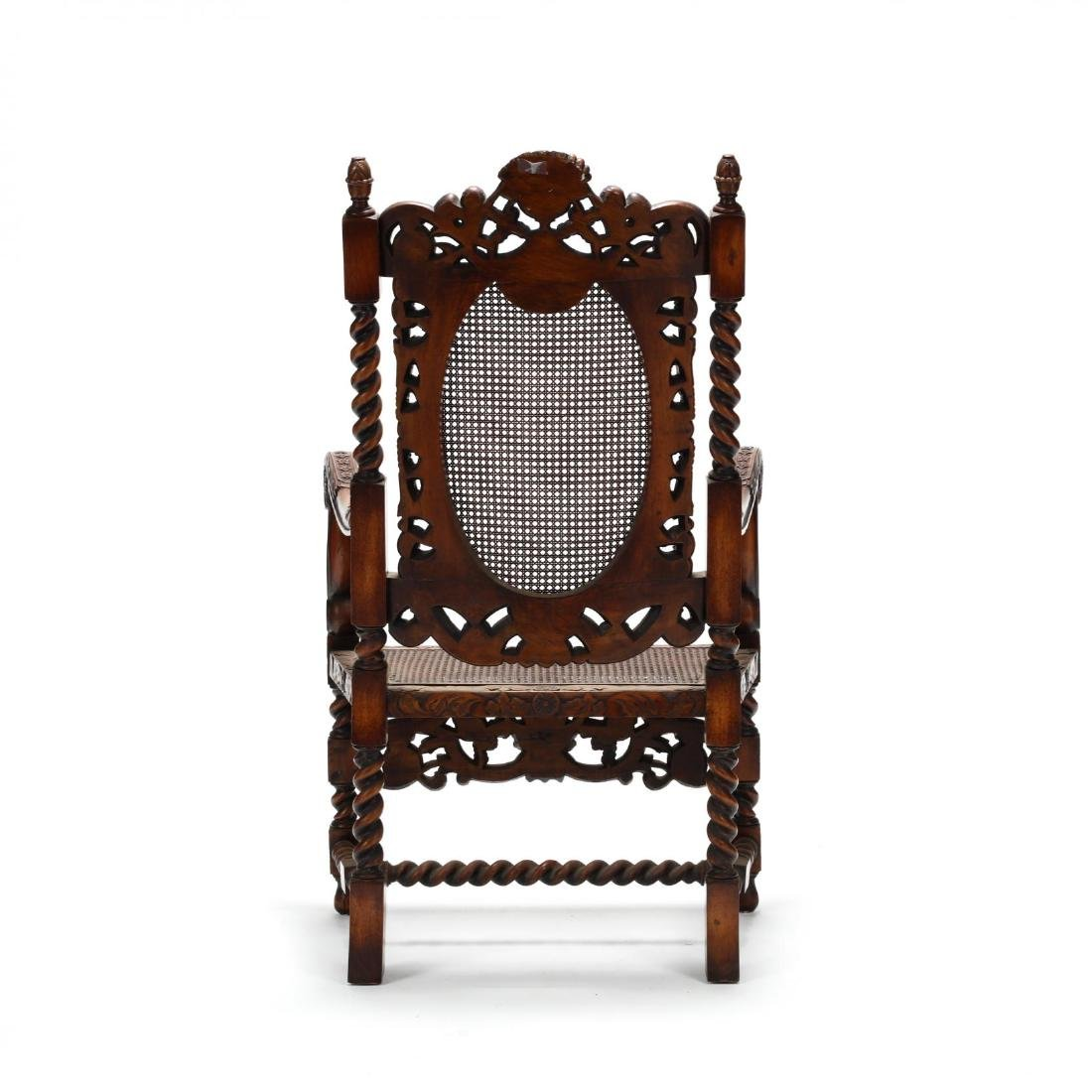 Flemish Style Carved Walnut Hall Chair - 4