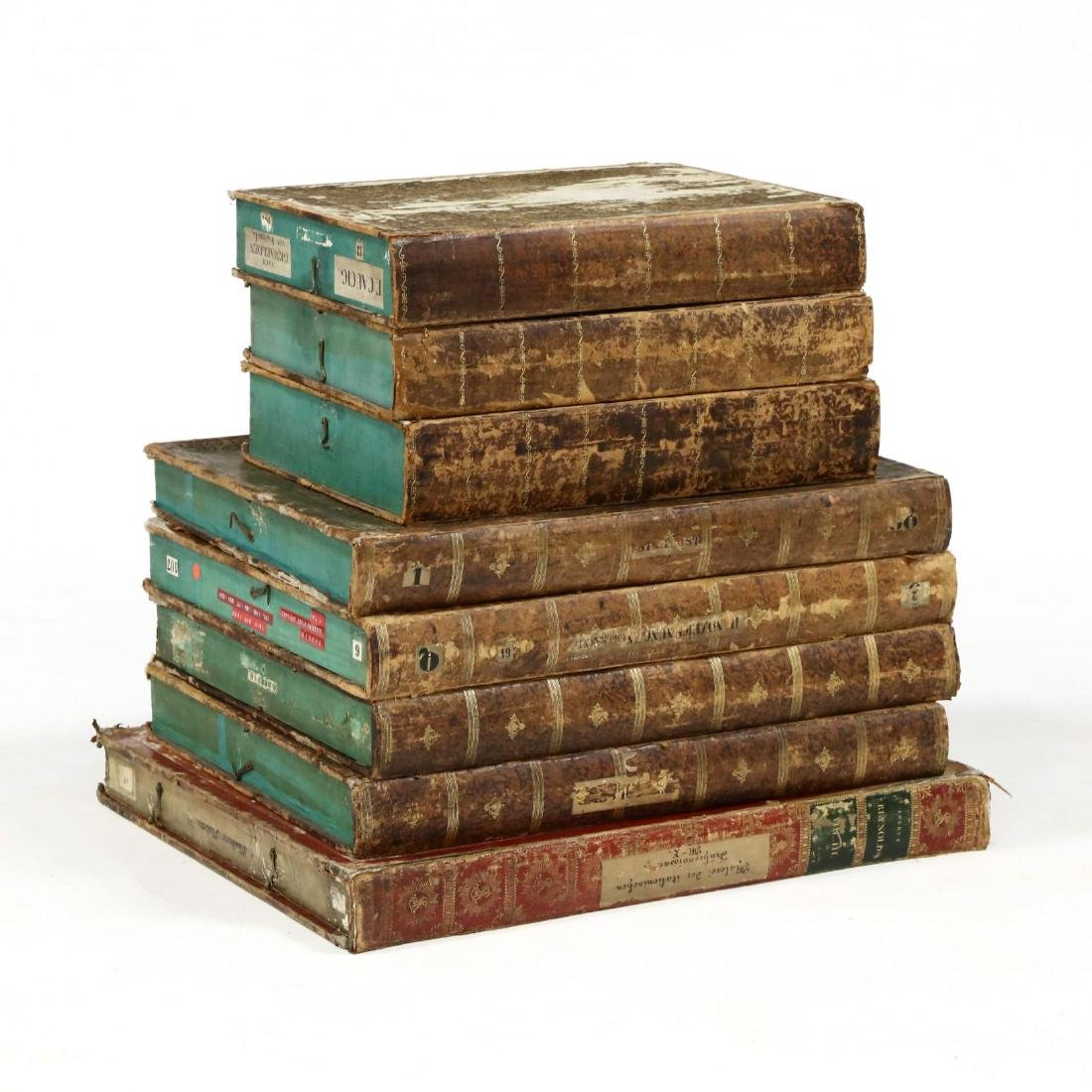 Group of Eight Oversized Antique Faux Book Form