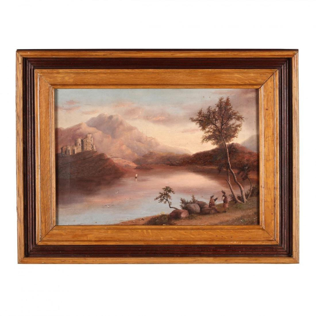 An Antique Scottish Painting of a Loch with Highlanders