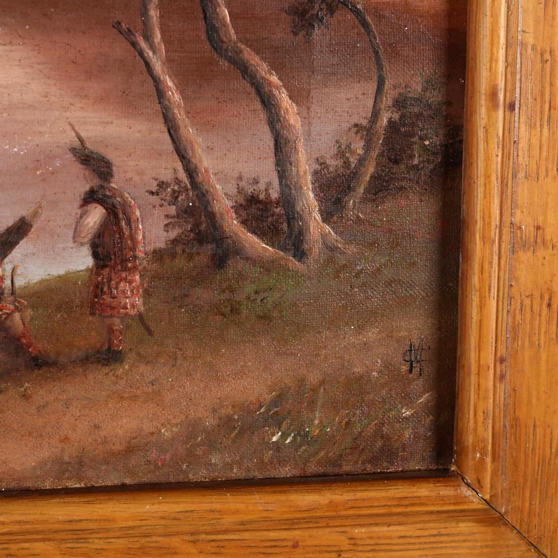 An Antique Scottish Painting of a Loch with Highlanders - 2
