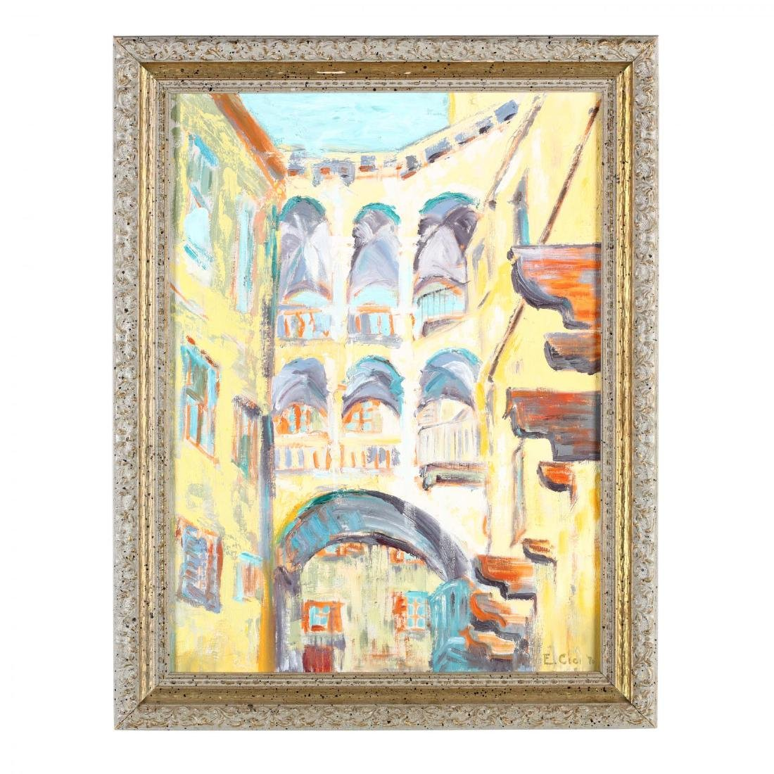 A Vintage Impressionist Architectural Painting