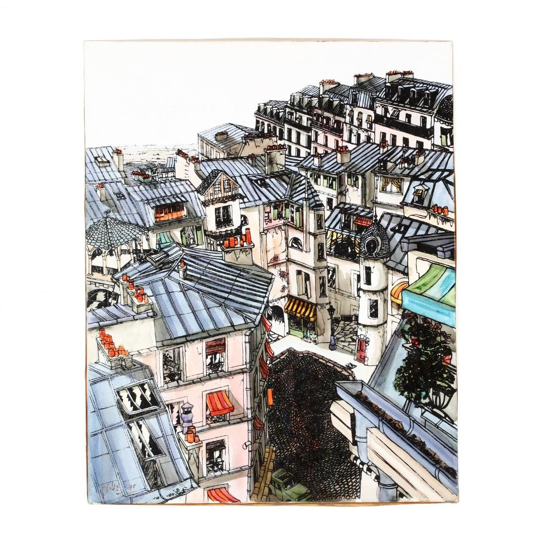 A Contemporary Painting of the Rooftops of Paris